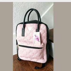 Betsy Johnson Large Backpack Pink Bow Black